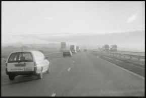 Chris H. driving, M20, Kent, England, November 1998
